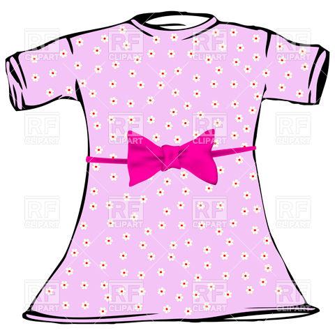 Pink dress for little girl Stock Vector Image.
