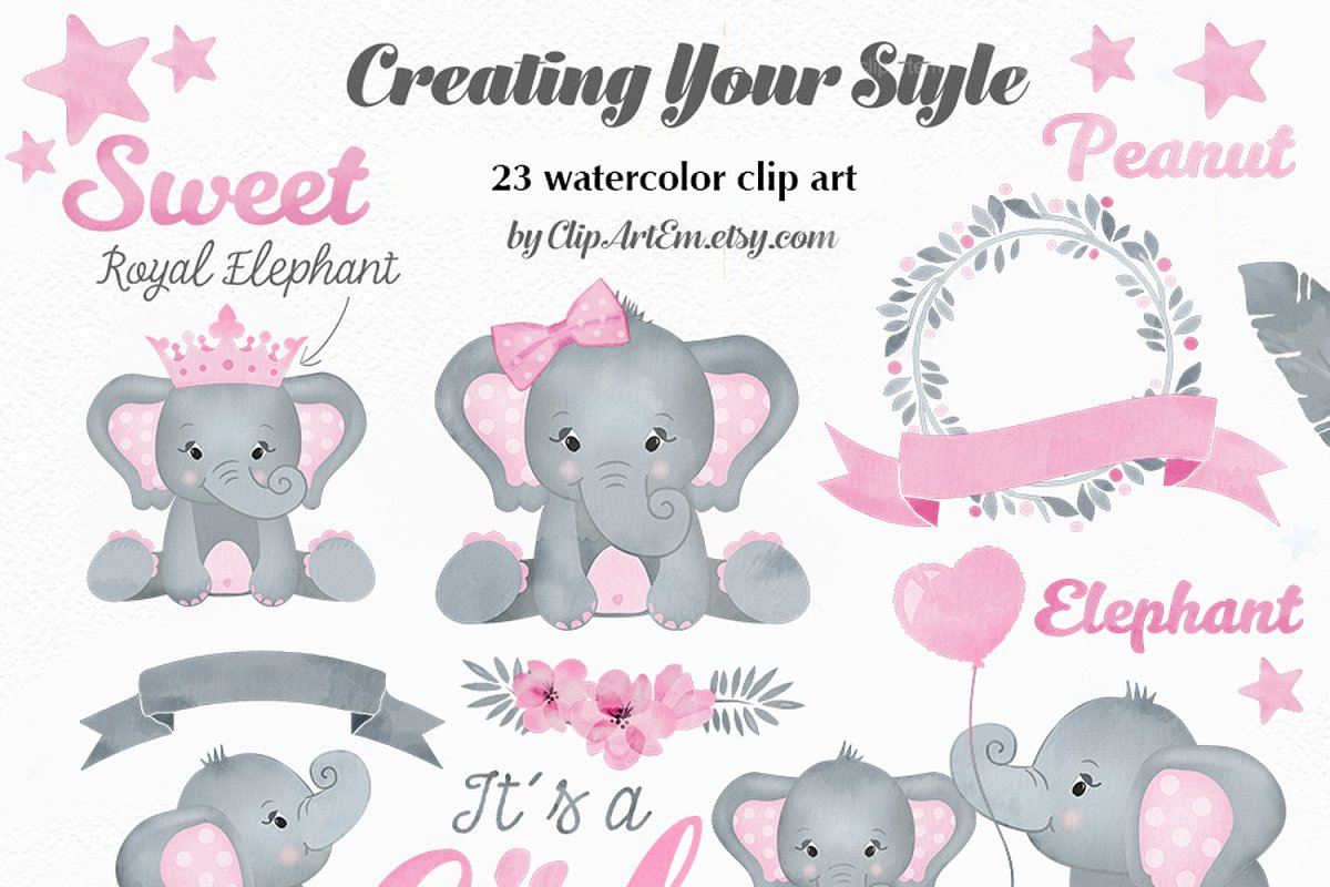 Baby Girl Pink Elephant Clipart set.