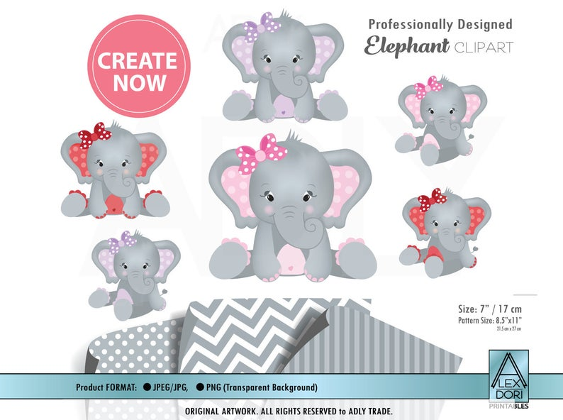 Gray Elephant clip art, Baby Girl with bow.