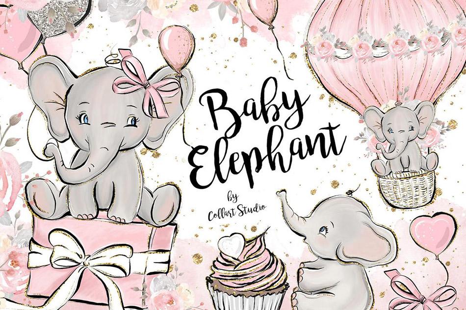 Baby Elephant clipart, Baby girl clipart, birthday clipart.