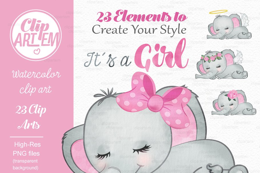 Girl pink gray elephant clipart.