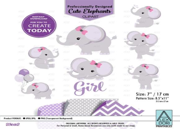 Baby Girl Elephant Shower in Purple Gray.