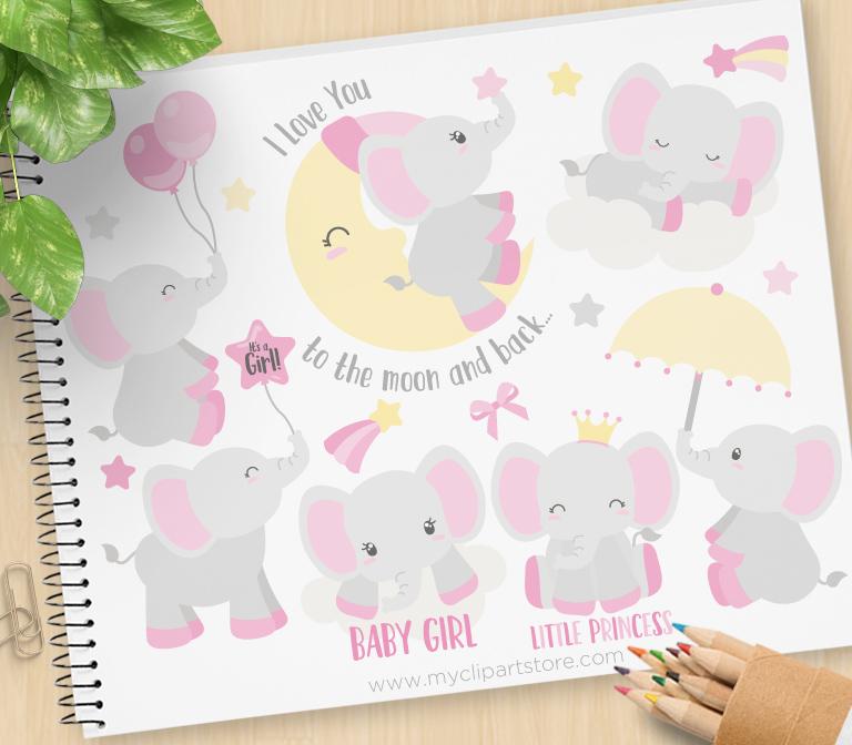 Baby Girl Elephants Clipart.