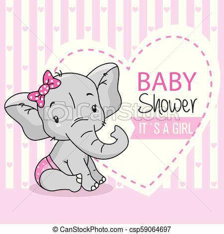 baby girl arrival card. cute baby elephant..