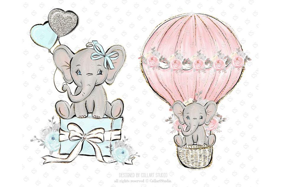 Baby Elephant clipart, Baby boy baby girl clipart, birthday.