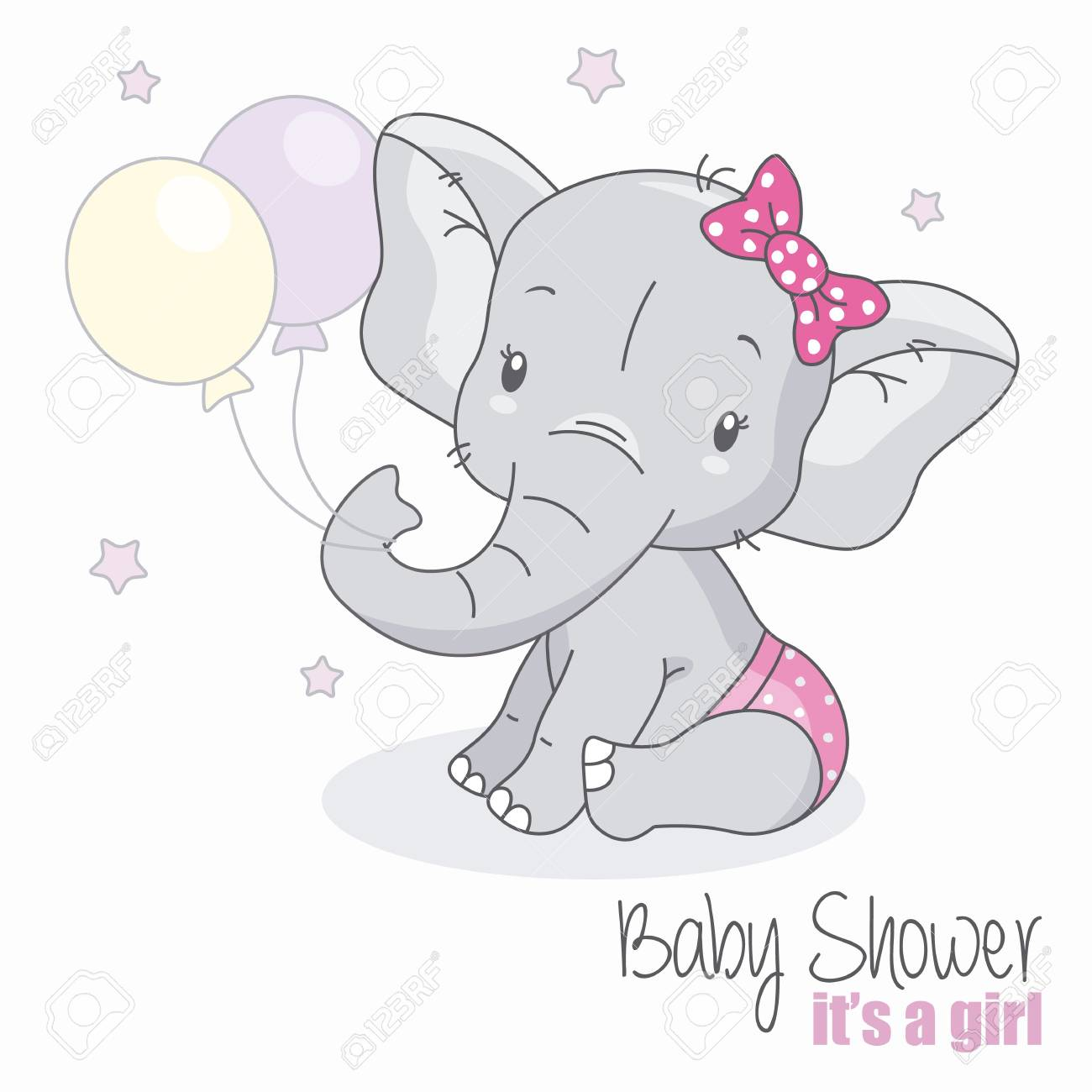 baby shower girl. Cute elephant with balloons..