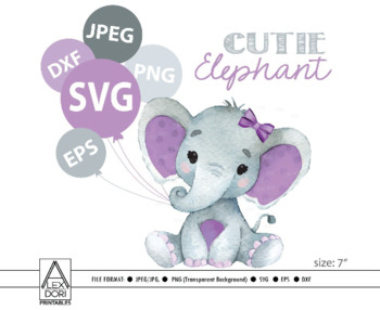 Cute Girl Elephant SVG, vector clip art, baby girl elephant for baby shower.