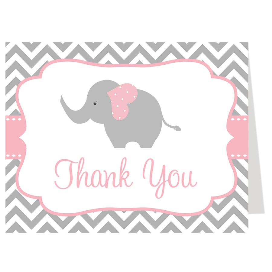Chevron Elephant Pink Thank You Card.
