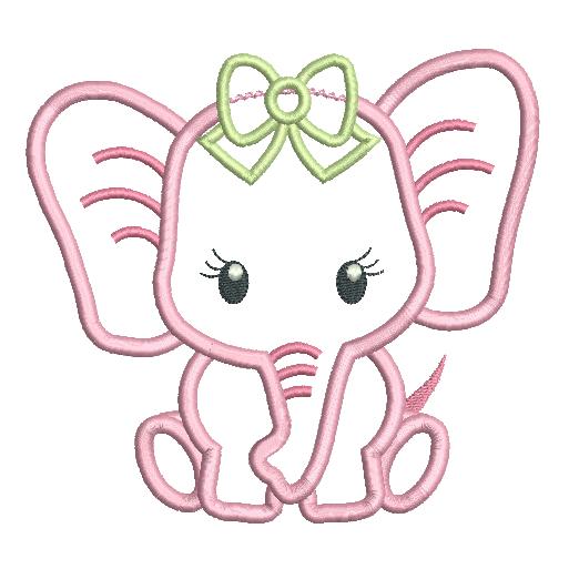 Baby Girl Elephant Applique (SA545.