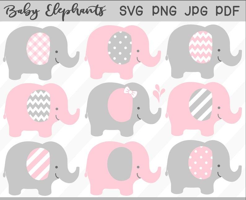 Baby Elephant SVG & Clipart Set.
