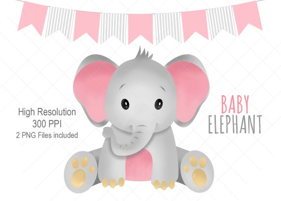 Elephant Clipart, Elephant Clip art, Elephant, Pink Elephant, Baby Girl  Elephant, Instant Download, Digital Clip Art, Digital file.
