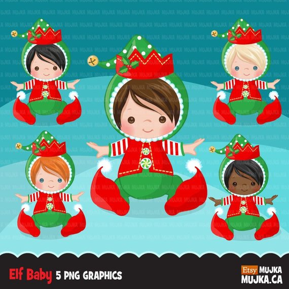 Baby Elf clipart, Christmas elf costume baby shower graphics.