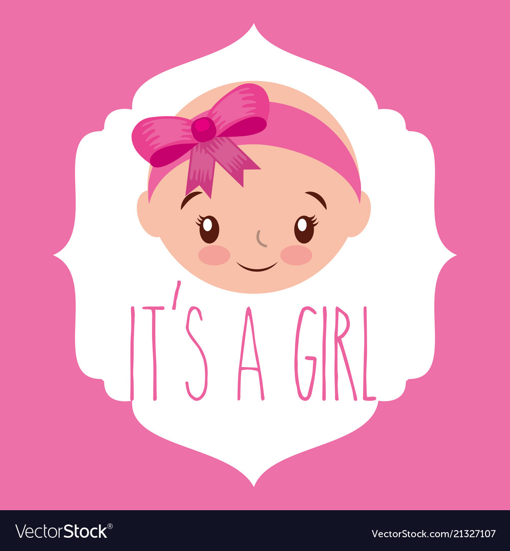 Cute face girl baby shower label.