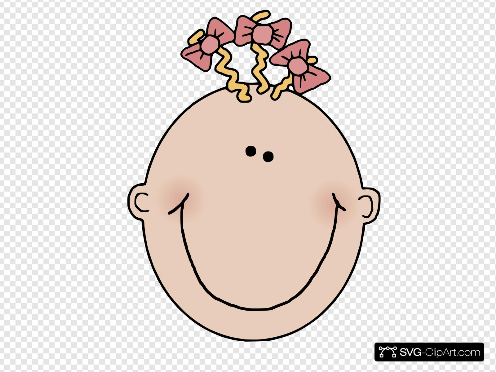Cartoon Baby Girl Face Clip art, Icon and SVG.