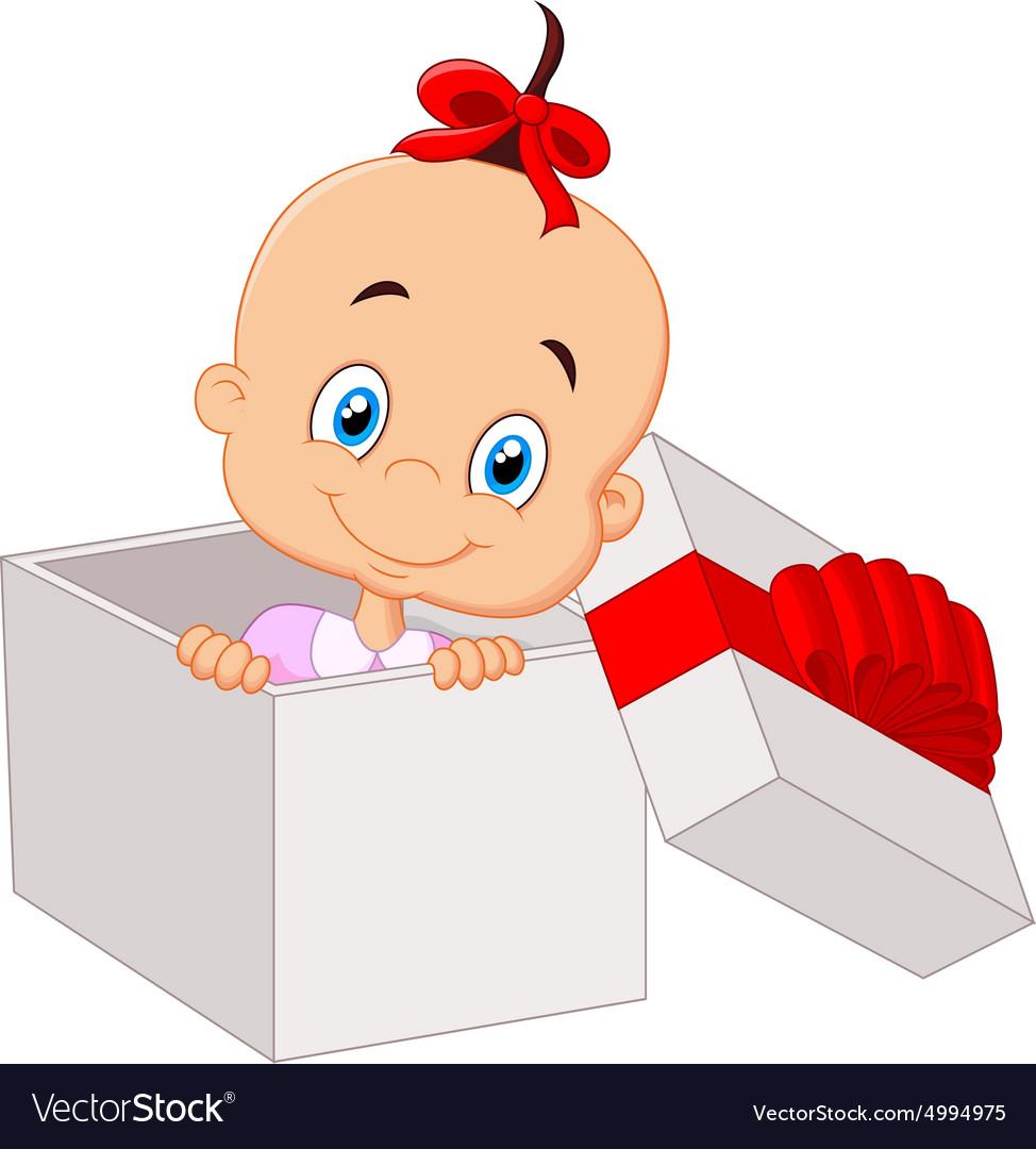 Little baby girl inside open gift box.