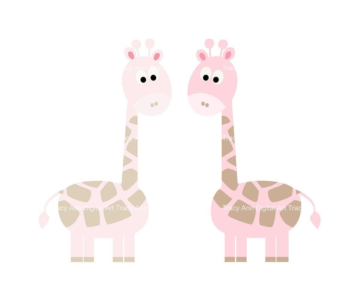 Giraffe Clip Art Baby Pink Giraffe clipart by TracyAnnDigitalArt.