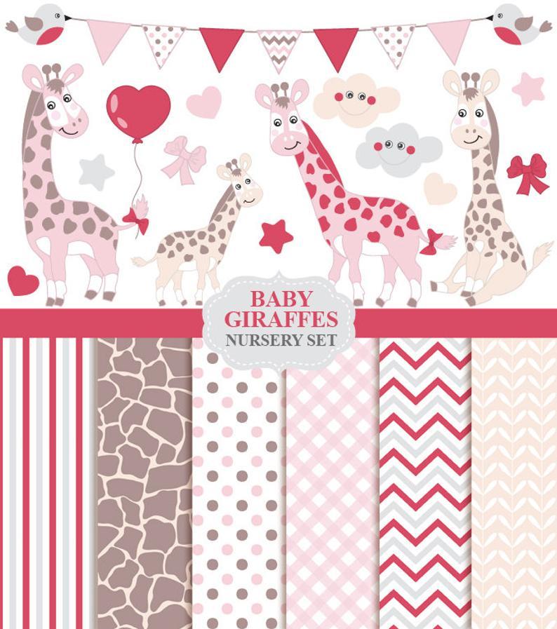 Baby Girl Giraffe Clipart & Digital Paper.