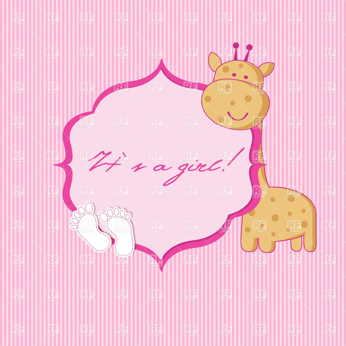 Baby girl birth announcement card with cartoon giraffe and footprints Stock  Vector Image.