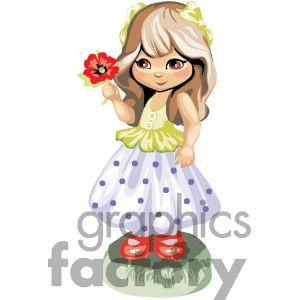 Cute Brown Hair Baby Girl Clipart.