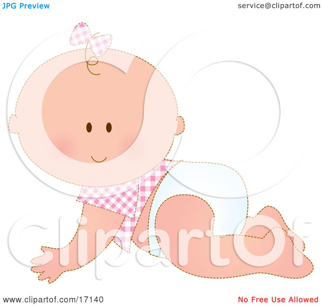 Caucasian Baby Girl In A Pink Checkered Shirt And Bow On Her Hair.