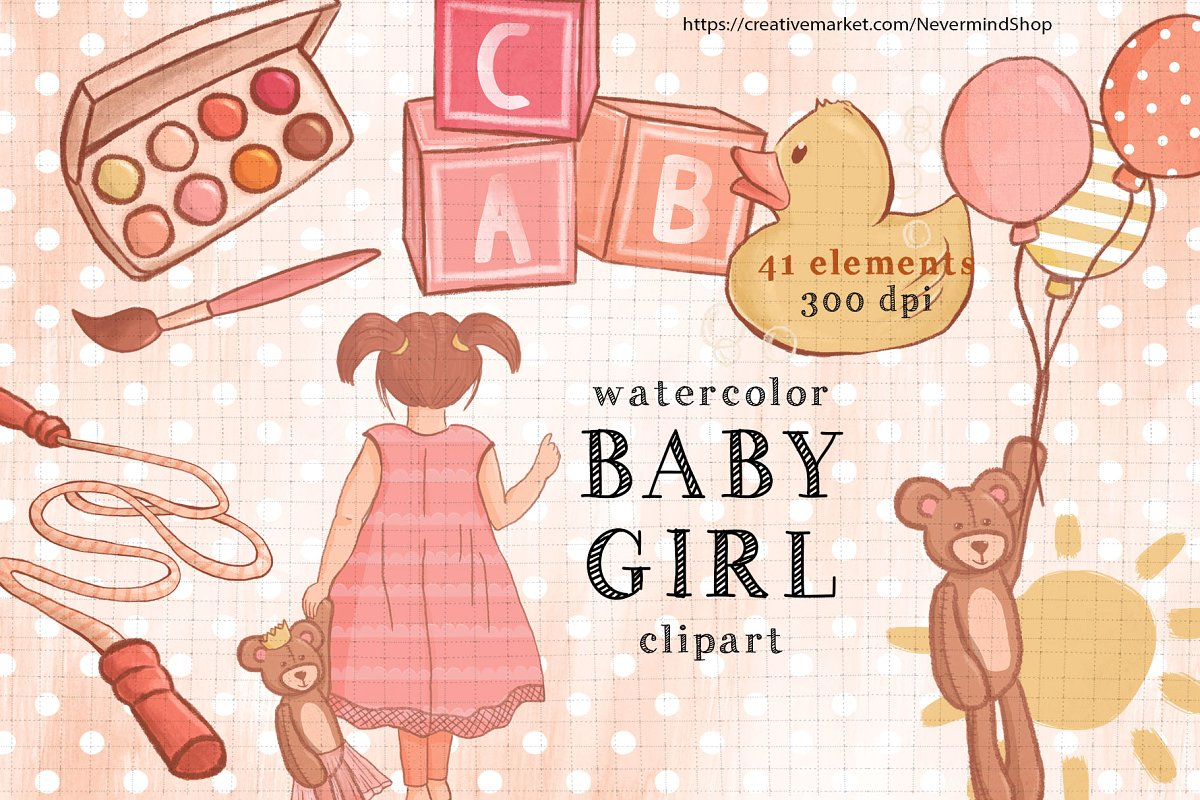 Baby Girl cute clipart.