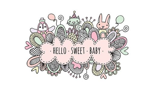 Hello Sweet Baby Girl Hand Drawn Doodle Vector Clipart Image.