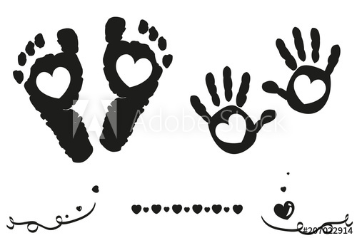 Twin baby girl and boy feet and hand print arrival card.