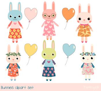 Cute bunny clipart, Baby girl bunny clip art, Easter rabbit, Heart shape  balloon.