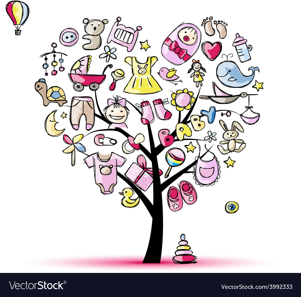 Heart shape tree with toys for baby girl.