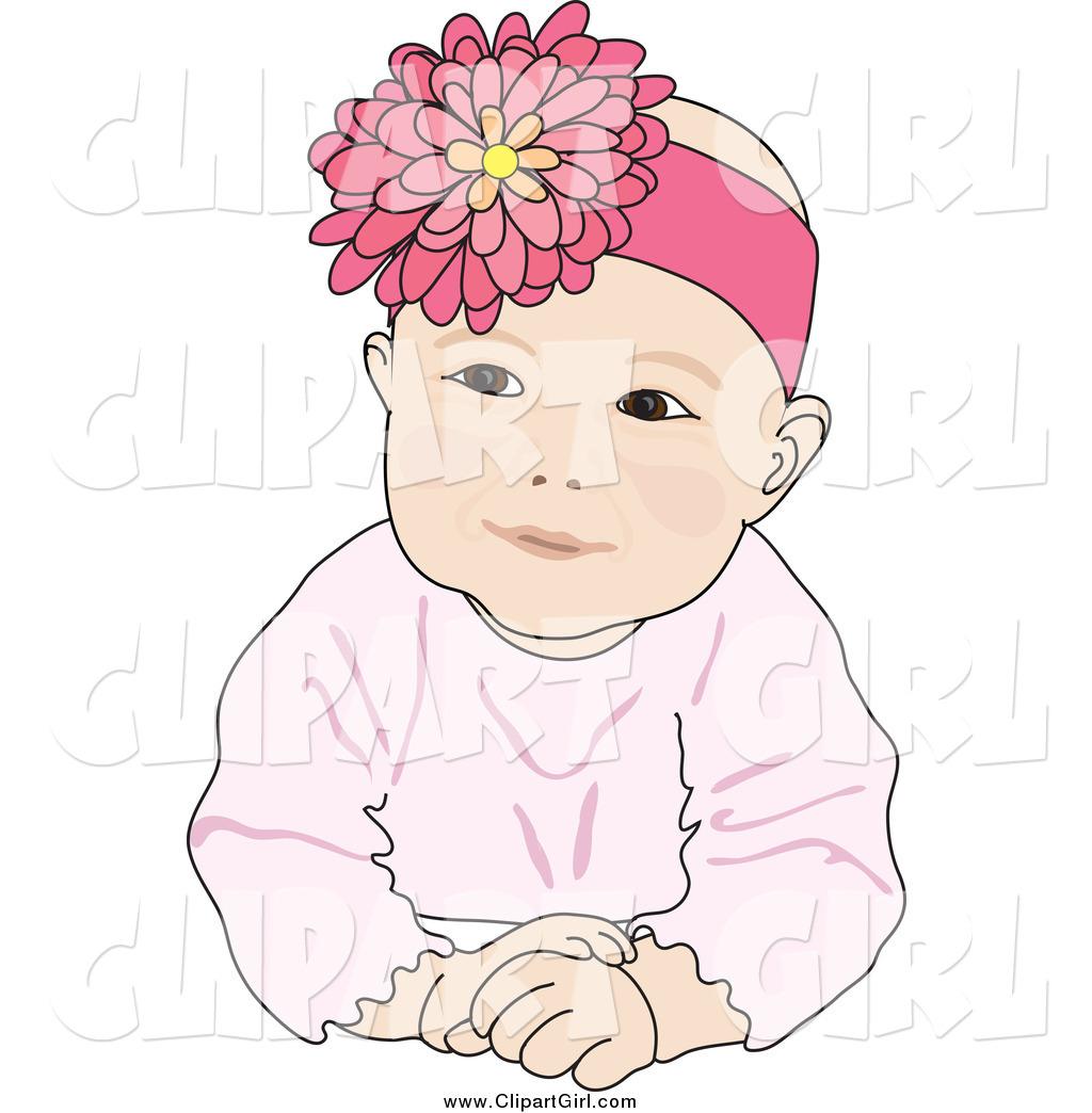 Clip Art of a Cute Caucasian Baby Girl Wearing a Flower Head.