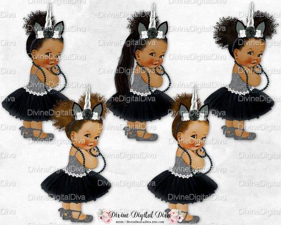 Unicorn Princess Black Silver Tutu Ballet Shoe Unicorn Horn.