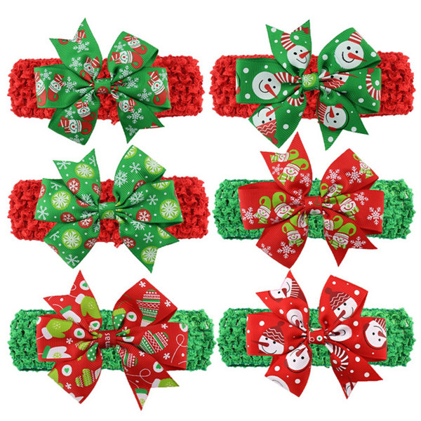 Xmas Baby Girl Christmas Bowknot Headband Hair Band Head Wear Accessories.