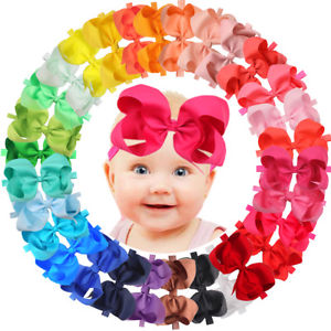 Details about 30Pcs 6 inch Bows Baby Girls Headbands Grosgrain Ribbon Big  Hair Bows for Infant.
