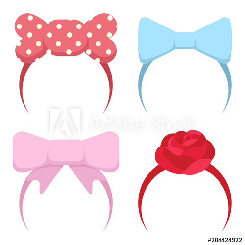 Headband with bow and rose flower for girls. Vector cartoon.