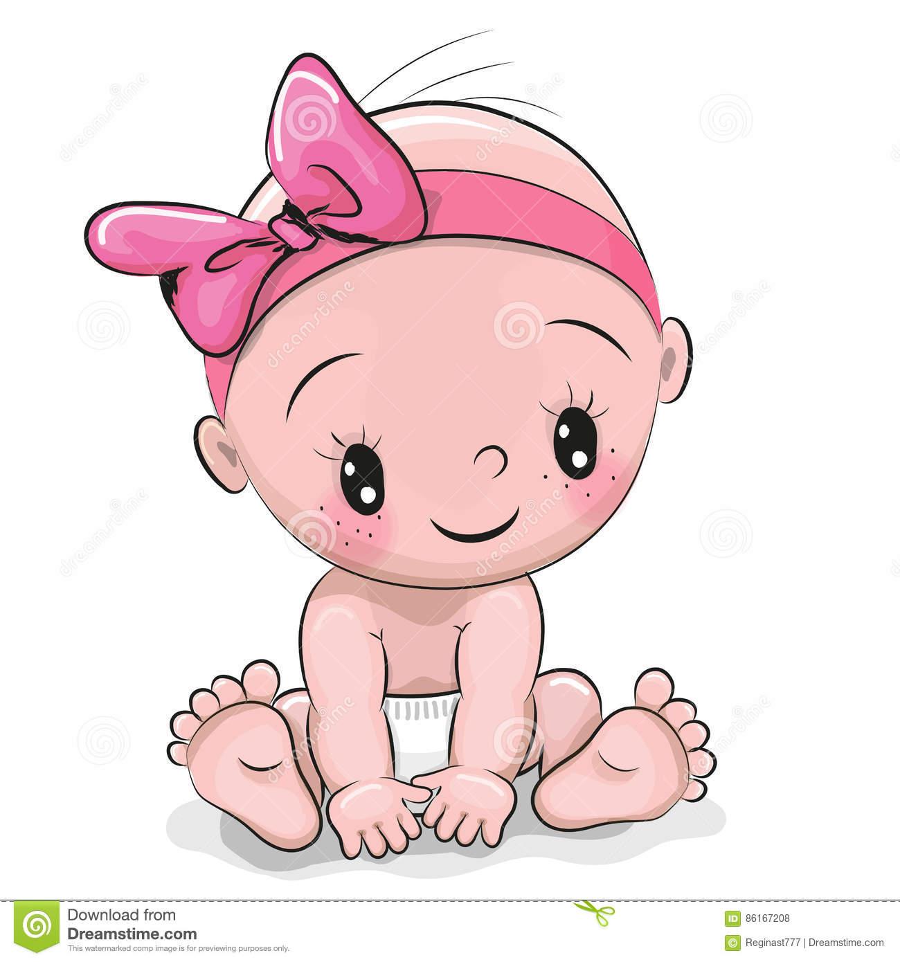 Cute Baby Girl Clipart.