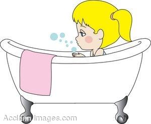Girl In Bath Clipart.