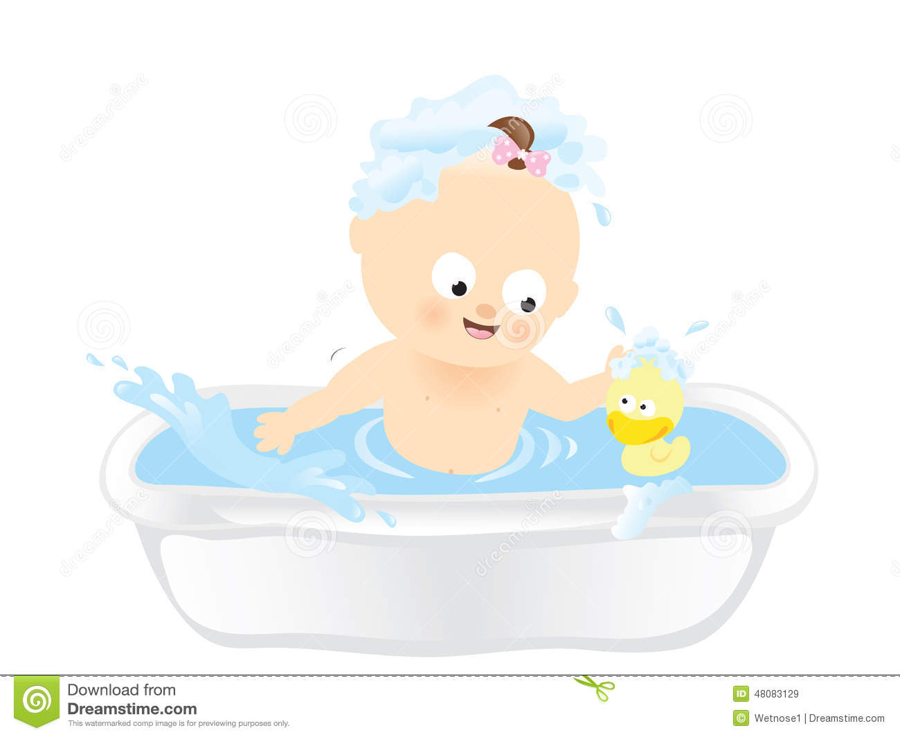 Baby Bath Time Clipart.
