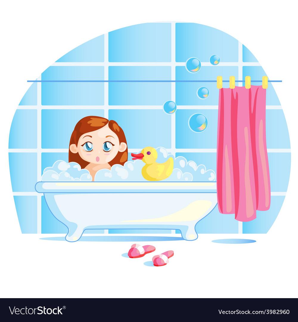 Funny little baby girl taking a bath.