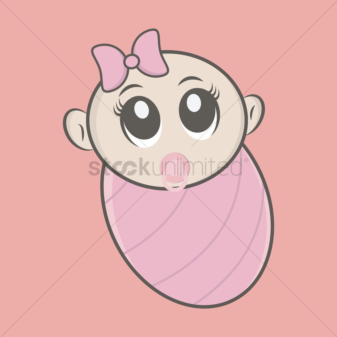 Baby Girl In Blanket Clipart.