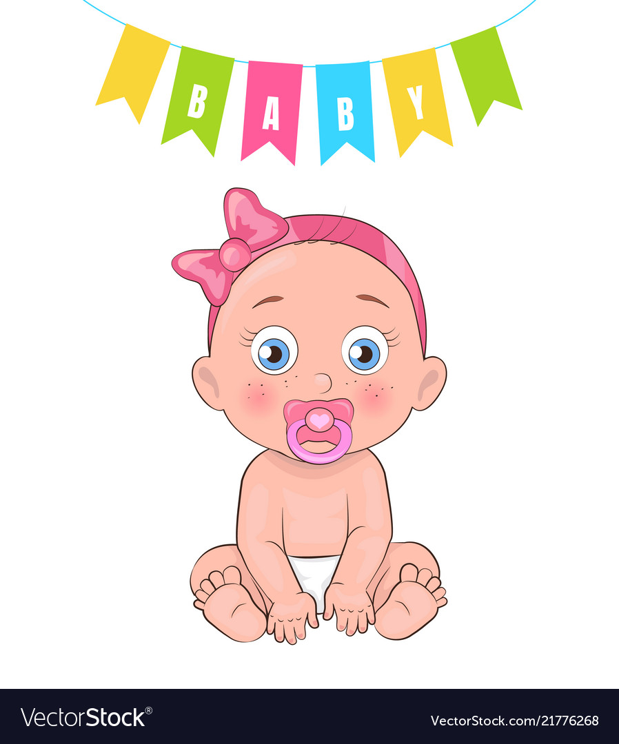 Baby girl poster newborn infant pacifier in mouth.