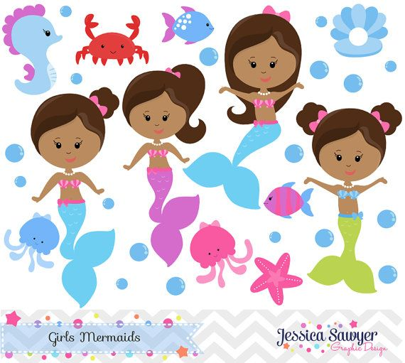 INSTANT DOWNLOAD, Mermaid Clipart and Vectors for Personal.