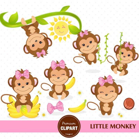 Monkey clipart, Monkey girl clipart, Monkey baby shower, Safari.
