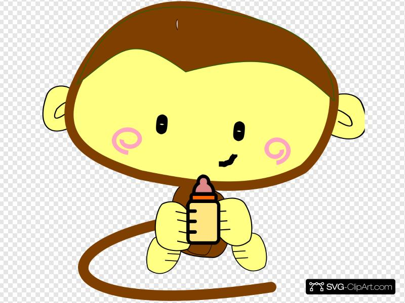 Baby Girl Monkey Clip art, Icon and SVG.