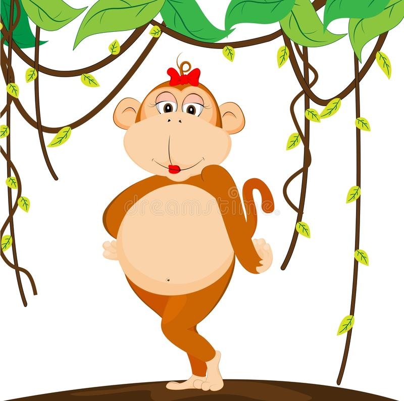 Baby Girl Monkey Stock Illustrations.