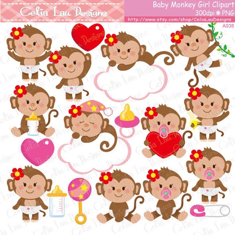 Baby Monkey Clipart, Cute Monkey Baby Girl Clipart.