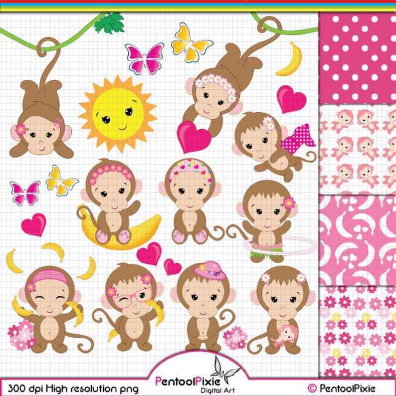 Monkey Clipart, Monkey Girl clipart, Cute Monkey clipart, Baby Girl Monkey  clipart, Funky Monkey clipart, Monkey digital paper.