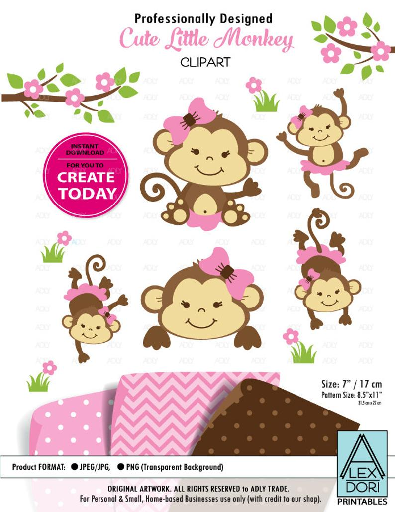 Monkey Clip art, cute Monkey print, Safari kids clip art, Baby Monkey art,  png. Nursery decor, Baby Shower,birthday party, commercial use.