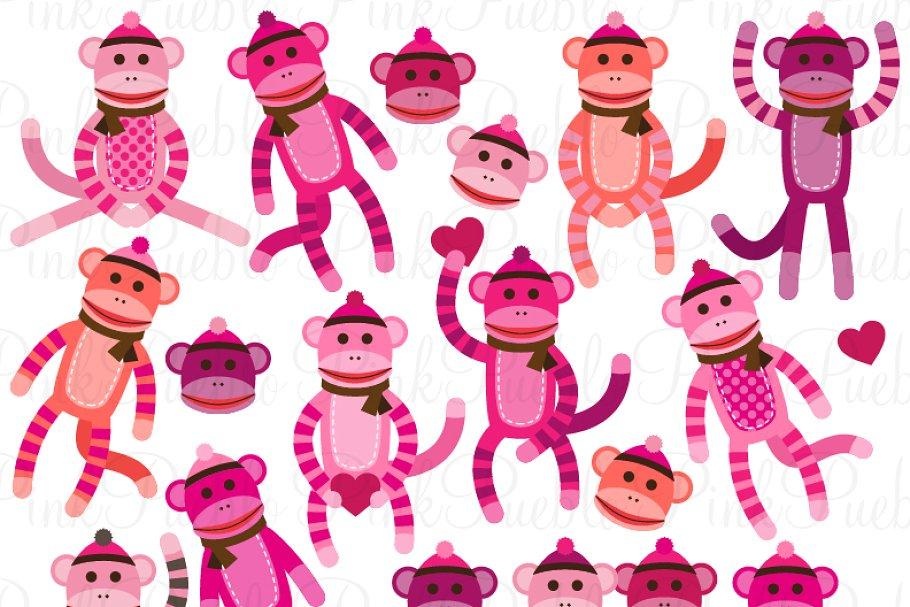 Baby Girl Sock Monkey Clipart/Vector.