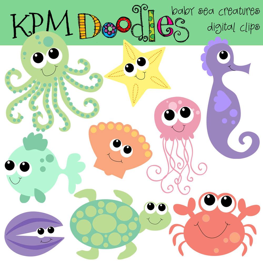 Cute Ocean Animal Clipart.