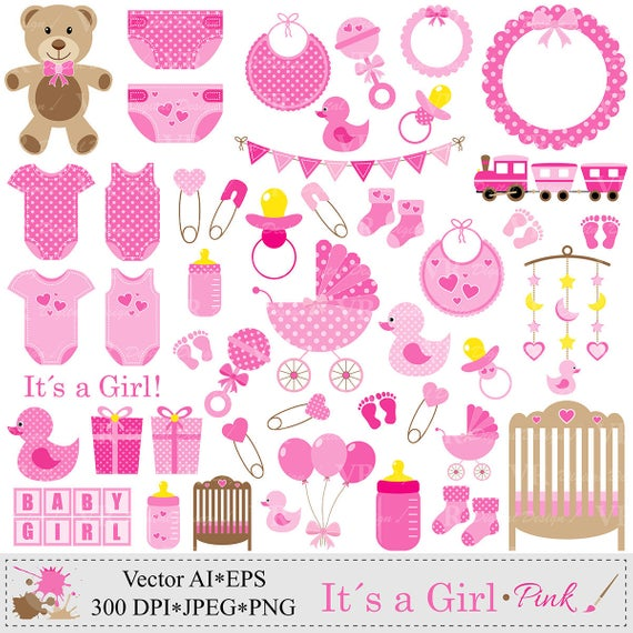 Baby Girl Clip Art, Pink Baby Shower Clipart, Nursery Clip Art, Baby Girl  Vector Clipart, Baby Girl Onesie Clipart, Digital Download.